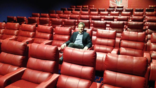 Don Fox, president of Fox Theatres, sits in new luxury seating at Sun & Surf Cinema in Ocean City. The seats are set to debut in four auditoriums Thursday.