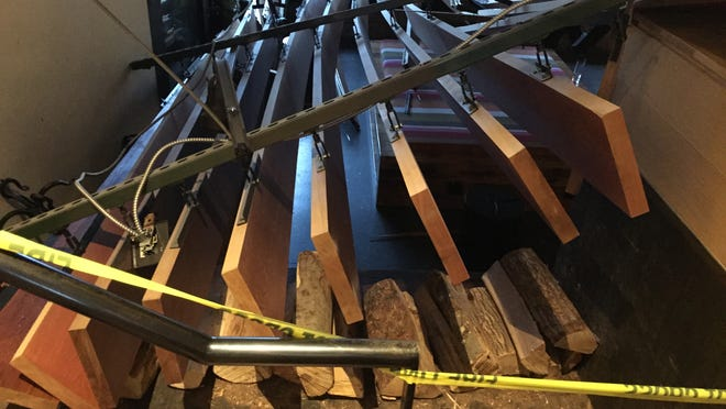 This decorative suspended ceiling collapsed in the northwest corner of the Hotel Vermont lobby on Thursday, April 30, 2015. Five people were injured, four of whom were taken to the hospital for treatment.