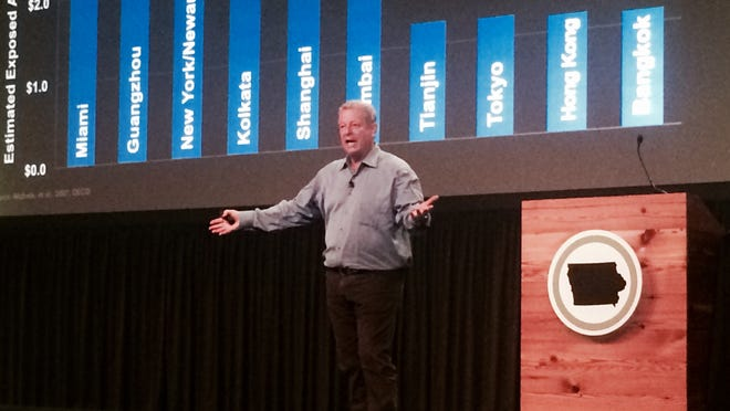 Former Vice President Al Gore spoke to about 350 people at a Climate Reality training in Cedar Rapids Tuesday, May 5.