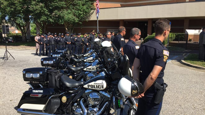 Pensacola police pay their respects to fallen officers during the annual PPD Law Enforcement Memorial Ceremony.
