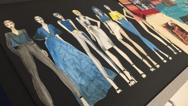 Pictured are the sketches of COS student Carolina Ramos, 24, who is studying fashion design. The collection was inspired by the sea and ocean conservation, the Porterville resident said.