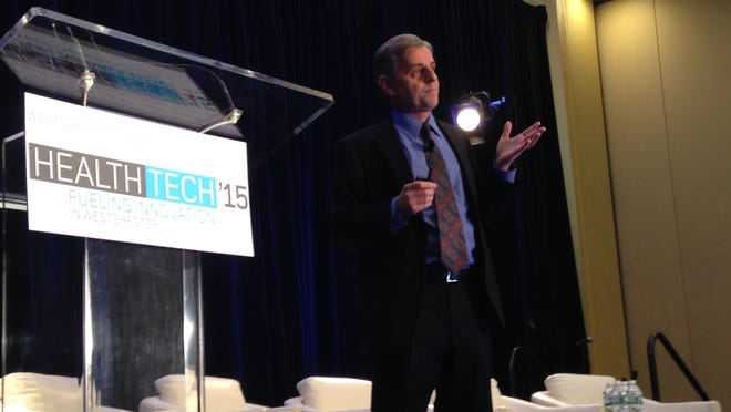 Dr. Kevin Tracey, a neurologist, who is president and chief executive officer of the Feinstein Institute for Medical Research, and senior vice president of research at North Shore-LIJ Health System, addressed the audience Monday at the Health Tech '15 event in Tarrytown, New York.