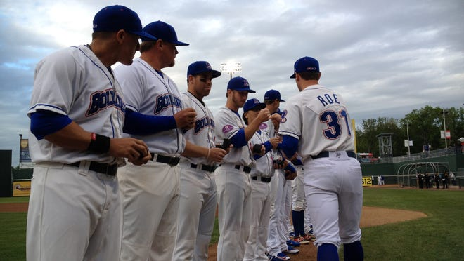 The Rockland Boulders received their 2014 Can-Am League championship rings before the team's home opener on Thursday night.