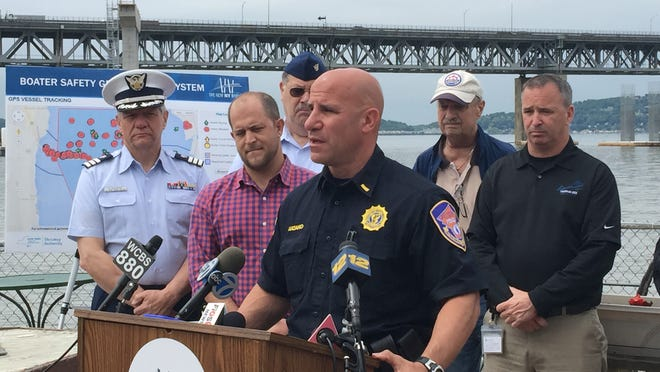 Westchester County police Lt. James Luciano on Thursday talks about boating safety near the Tappan Zee Bridge construction site during a news conference at the Washington Irving Boat Club in Tarrytown.