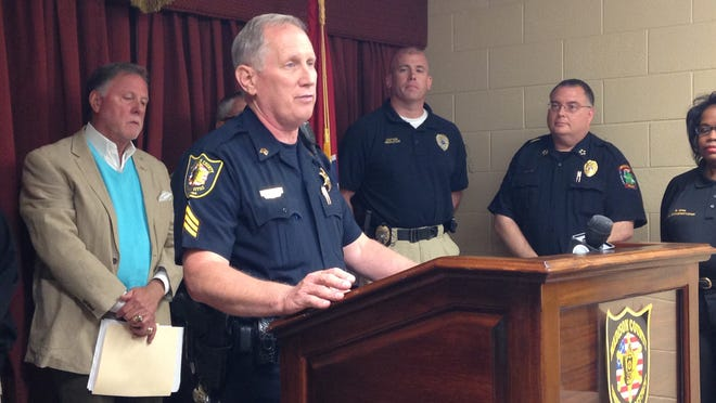 Sgt. Joe Gill of the Madison County Sheriff's Department speaks during a news conference on Thursday.