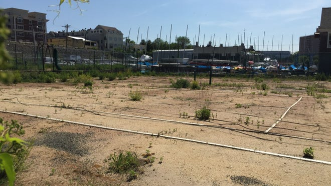 The dilapidated tennis courts at Marine Park.