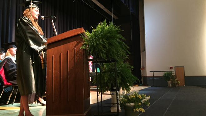 Valedictorian Madison Carlson gave a speech at the Oakland High School graduation.