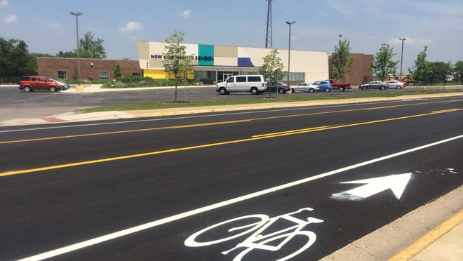 Lafayette began installing bike lanes this week on Elmwood Avenue. The first phase of painting is complete and additional signage and markings will be added.