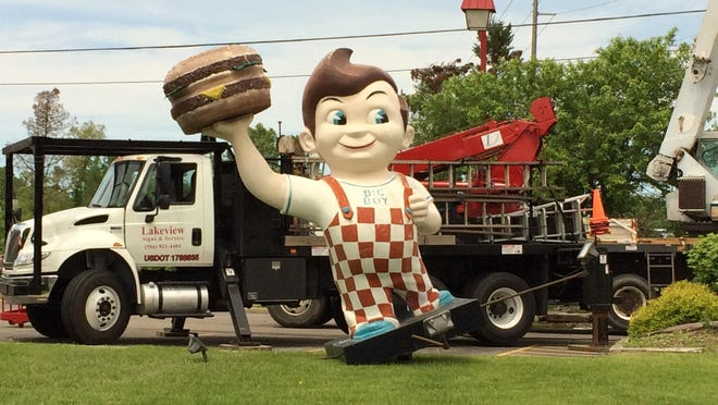 The Big Boy sign in Brighton was taken down recently as work to remodel and reopen the restaurant gets underway.