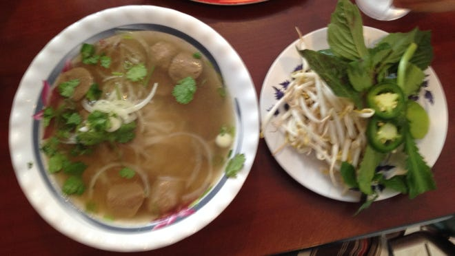 Medium Pho Tai Bo Vien: beef broth, rice noodles, rare beef and beef balls from Pho Duong Dong on Otis Street in Rochester.