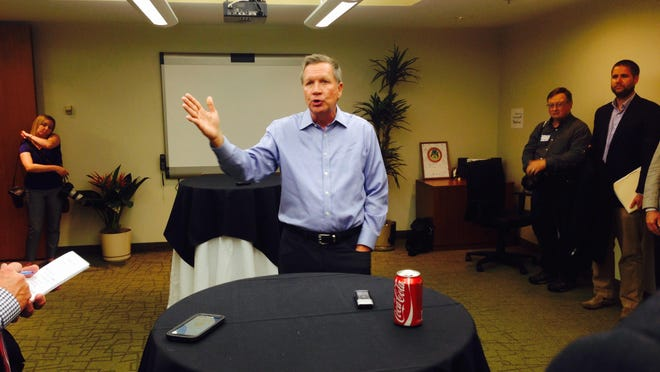 Ohio Gov. John Kasich speaks to members of the Small Business Association in Lansing on Tuesday.