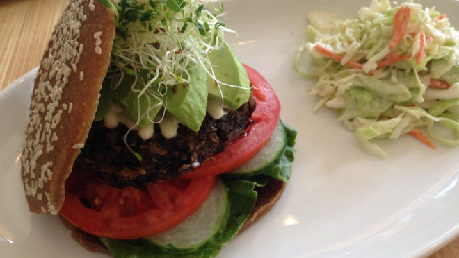 The Cool Avocado Burger, part of the #betterburgerproject at The Cider Press Cafe in Naples.