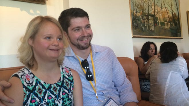 """Actress Lauren Potter who played Becky Jackson on """"Glee"""" attends the screening of her film """"Guest Room"""" with its writer and director Joshua Tate at the 2015 Palm Springs International ShortFest Wednesday."""