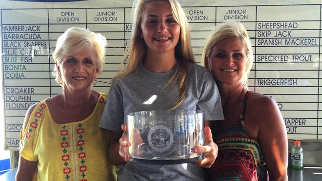Brooke Carr, center, was named the 2015 Bill Hargreaves Fishing Rodeo Queen on Sunday. Brooke is the third generation of the Carr family to be named Rodeo Queen, following in the footsteps of her grandmother, Jackie Robinson (left) and mother, Monique Carr (right).