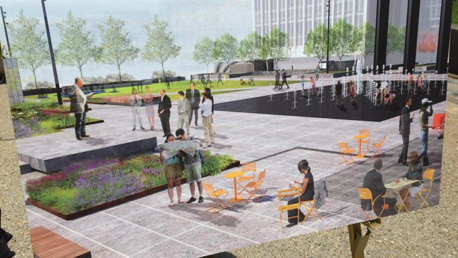 An interactive water fountain (at right in this artist's rendering) and outdoor seating will be among the features of the civic plaza outside the City-County Building in Downtown Indianapolis.