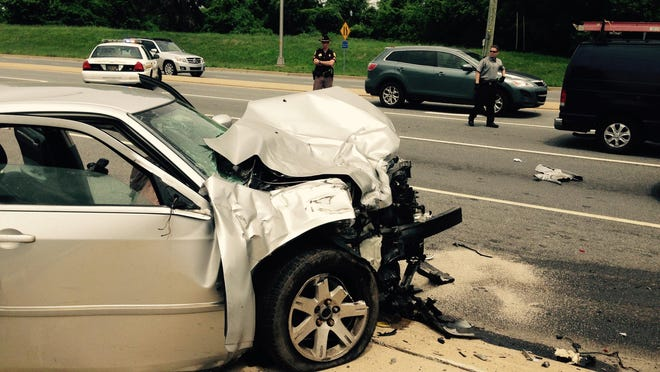 A brief police chase Thursday afternoon ended when this pursued car crashed into an SUV on Limestone Road (Del. 7) at Little Baltimore Road near Hockessin, county police said.