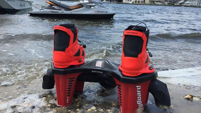 The flyboard, which is boots on a jetpack that gets attached to a personal watercraft with the 60-foot hose coming out of the front.