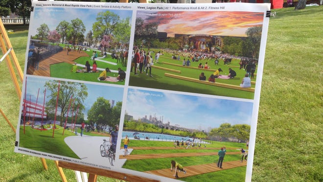 A posterboard showing the proposed plans for Legion Park (right side), Veterans Park (top left), and Mead Field (bottom left).