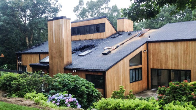 A fire gutted the home at 450 Long Ridge Road in Pound Ridge on Sunday night, July 5, 2015.