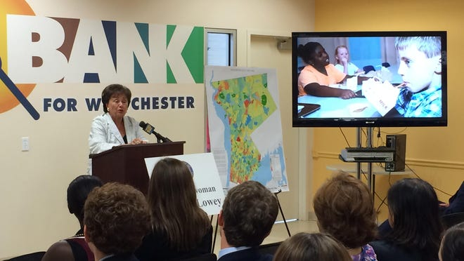 Congresswoman Nita Lowey spoke Tuesday at the Food Bank for Westchester about fighting childhood food insecurity during summer months.