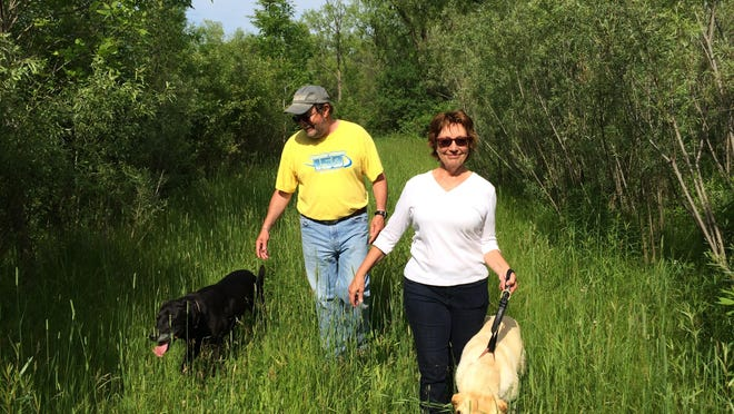 Tom and Jill Gaertner survey their Conservation Reserve Program property with their dogs, Inky and Queenie.