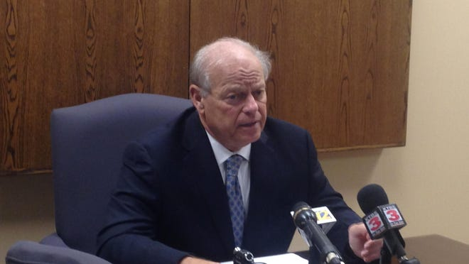 Dale Cox discusses his decision to not seek District Attorney election during a Wednesday press conference.