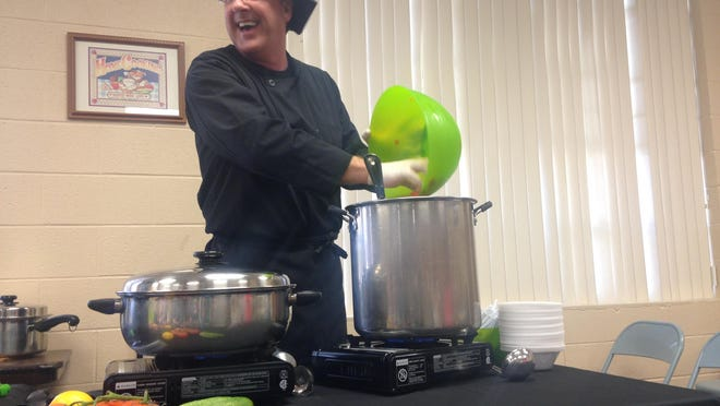 Chef Mark Anthony teaches the benefits of a healthy lifestyle to a group gathered Sunday at Jackson Seventh Day Adventist Church. Anthony is a Las Vegas chef who tours churches, schools and hospitals across the country teaching healthy eating.