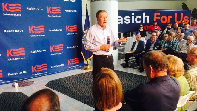 """John Kasich, Ohio governor and presidential candidate, spoke Saturday to about 200 Oakland County Republicans in Southfield. To those in attendance, he said, """"If our party has become so narrow that all we talk about is economics, then forget about electoral success."""""""