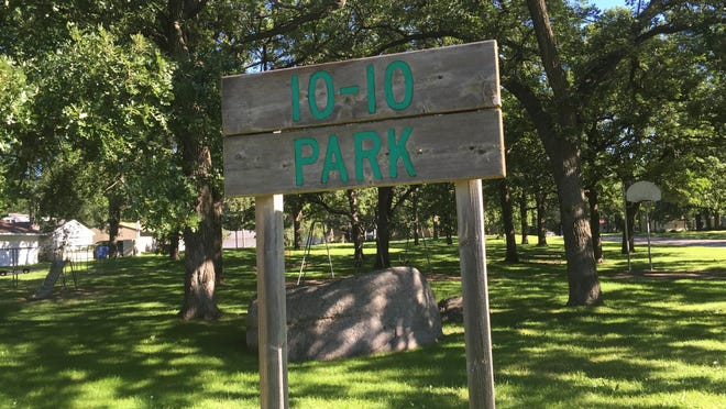 The sign at 10-10 Park, located just across the street from Reach-Up Park. It is the older park of the two, having been established in 1959.