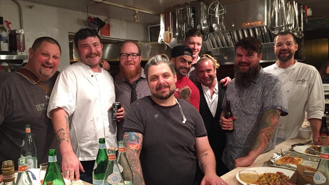 The central Indiana crew for Chefs NIght Off Indy at James Beard House. Pictured are Milktooth chef Jonathan Brooks, Thunderbird barman Joshua Gonzales, Cerulean pastry chef Peter Schmutte, charcuterie master Chris Eley of Smoking Goose and Goose the Market, chef David Tallent of Restaurant Tallent in Bloomington, Aaron Butts of Joseph Decuis in Roanoke, Chefs Night Off Indy founders R.J. Wall and Andrew Whitmoyer and beverage consultant Arthur Black of National Wine & Spirits.
