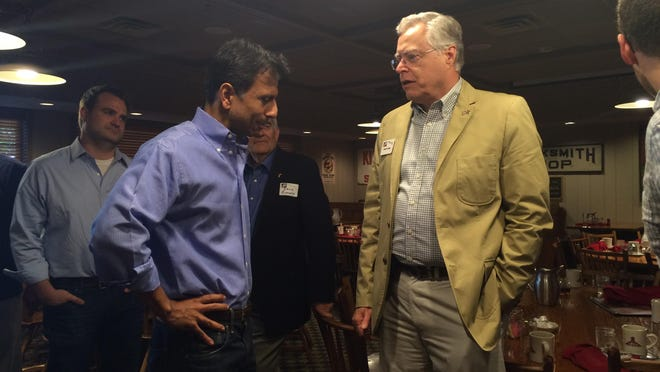 Louisiana Gov. Bobby Jindal, a Republican presidential candidate, speaks with Iowans at the Machine Shed Restaurant in Urbandale on Wednesday, Aug. 12, 2015.