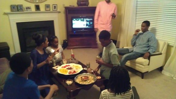 My cousins joking around at Thanksgiving 2012.