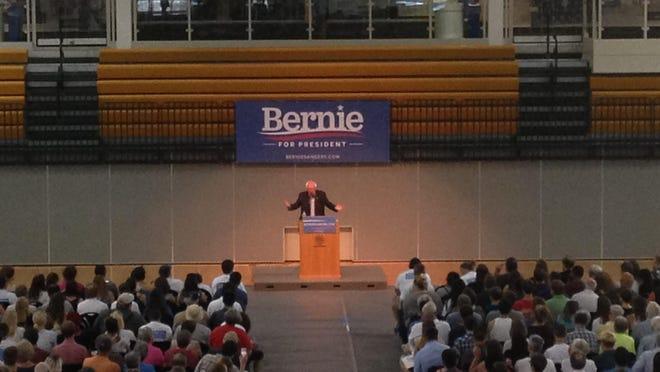 Vermont Sen. Bernie Sanders speaks at Loras College Sunday evening in Dubuque.