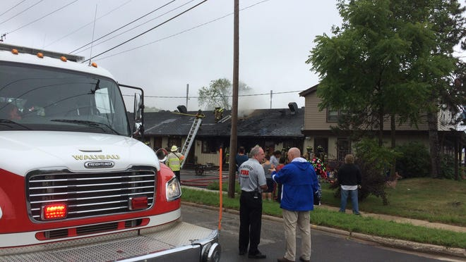 Northbound traffic on Grand Avenue was stopped as emergency personnel responded to a fire at the Ponderosa Motel early Monday afternoon.