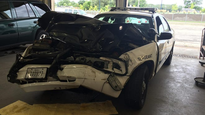A Des Moines police officer was involved in a two-vehicle collision Wednesday that sent him to the hospital. His car was taken to the city garage for repairs.