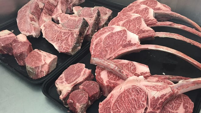 A selection of Tennessee Wagyu hyper-marbled steaks and chops at Urban Grub.