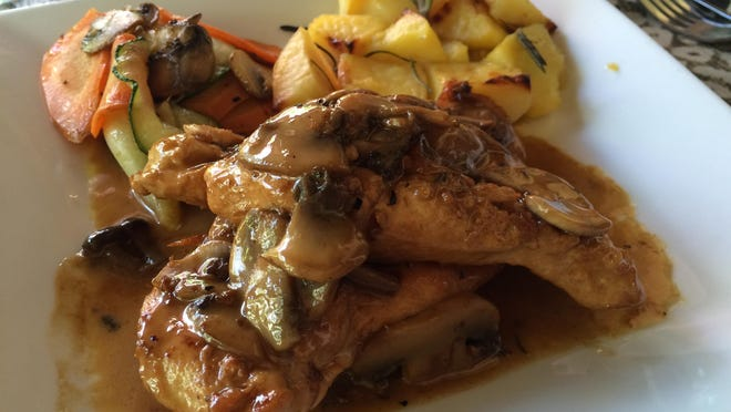 Chicken Marsala with roasted potatoes and vegetables from Brew Babies in Cape Coral.
