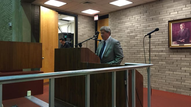 David H. Fabbri, president of Fabbri Builders Inc., speaks to Vineland City Council on Tuesday evening. His firm is the second to appear at a council meeting asking for payment for work on the Clayville power station project.