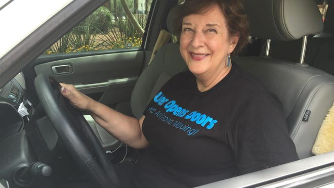 Kathleen Noble, a retired teacher who lives in Phoenix, drives for Uber part-time but wants to see the company build a tipping option into its customer-payment app.