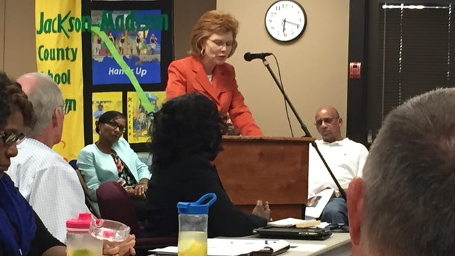 Mitzi Kirk, assistant principal at Liberty Technology Magnet High School, speaks at a School Board work session Tuesday night.
