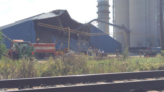 A grain storage facility has collapsed in Webberville.