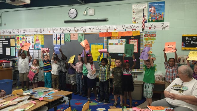 First graders in Jennifer Gill's classroom put on a performance for their grandparents.