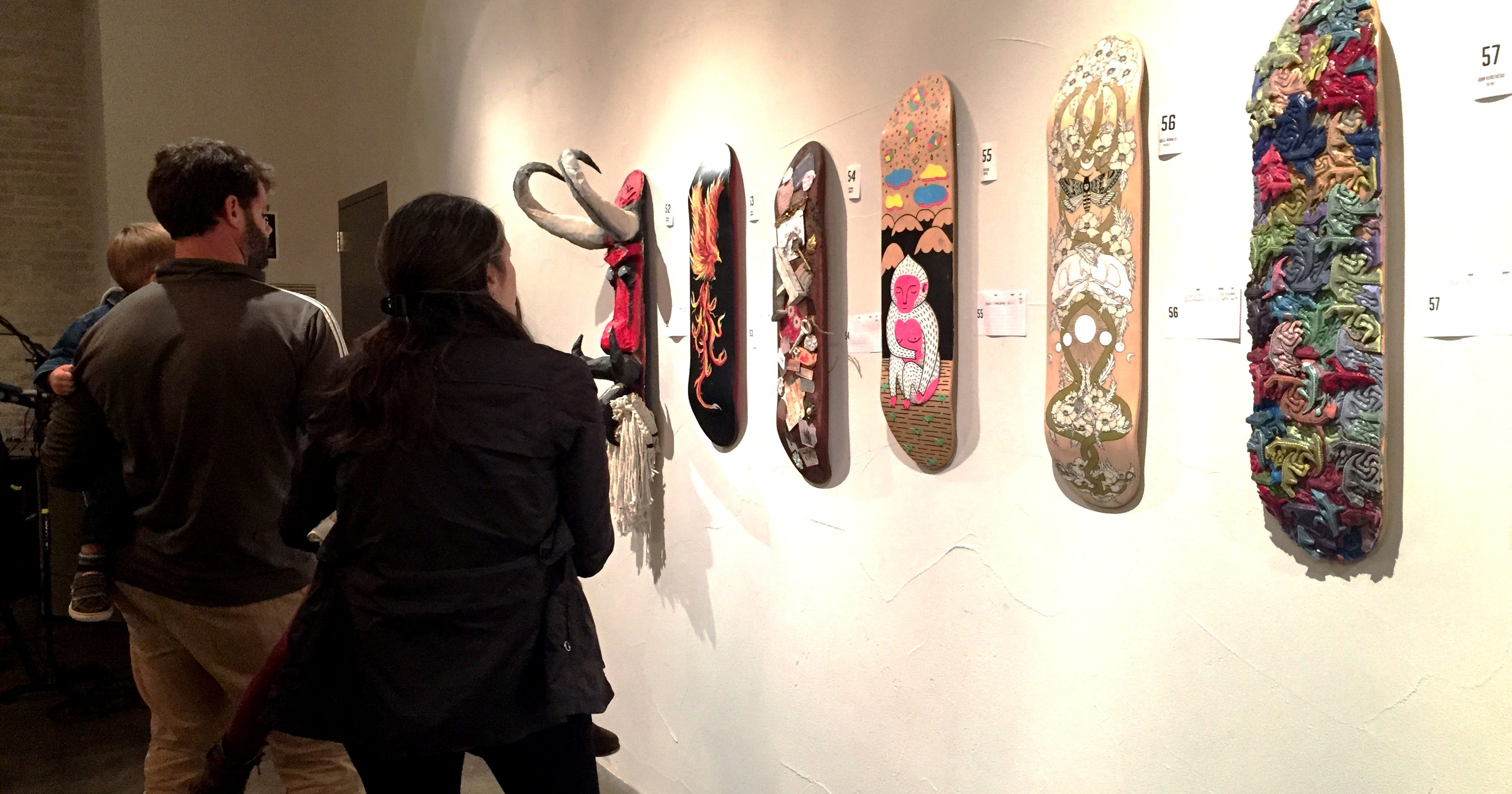 5d5fa6726393 Locals turn skateboards into art for fundraiser