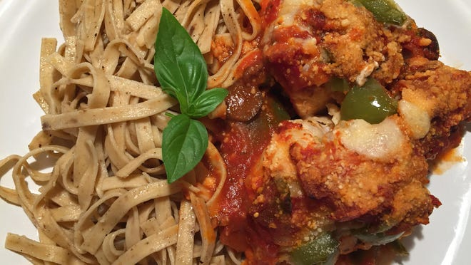 Chicken cacciatore and a fresh pasta with porcini mushrooms