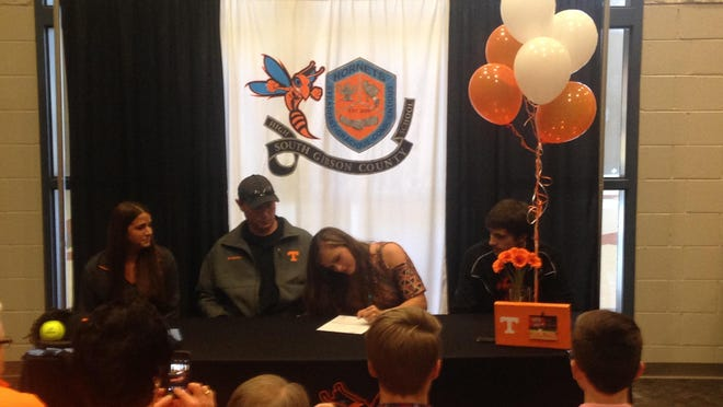 South Gibson's Kaitlyn Martin signs her letter of intent to play college softball at the University of Tennessee.
