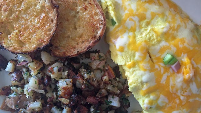 Far West omelet at First Awakenings with country potatoes and English muffins