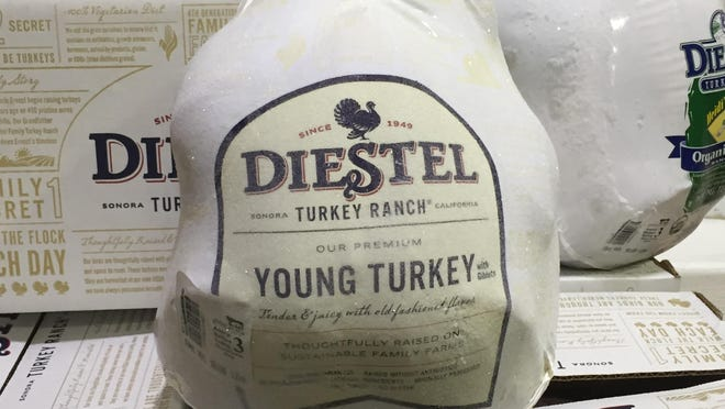 Local distributor Sierra Meat & Seafood will sell about 18,000 pounds of turkey, the vast majority being whole birds, in the two weeks leading up to Thanksgiving. The flagship fowl are Diestel Turkey Ranch's hormone- and antibiotic-free birds.