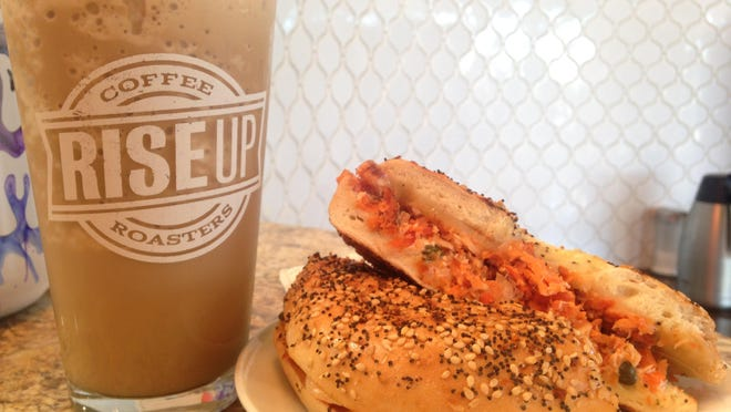 The Alaskan smoked salmon bagel and a pumpkin spice smoothie/milkshake from Rise Up Coffee.