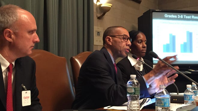 East Ramapo monitor Dennis Walcott presents preliminary findings about district in Albany with his team on Monday.