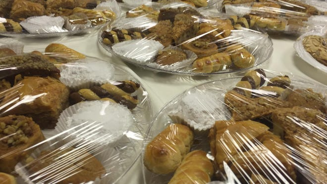 Various pastries are on display at the Saints Constantine and Helen Greek Orthodox Church on Forsythe.